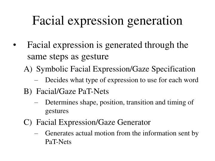 Facial expression generation
