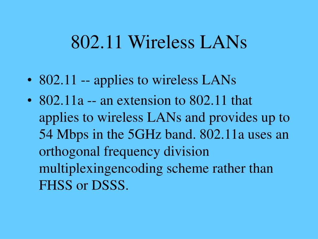 802.11 Wireless LANs