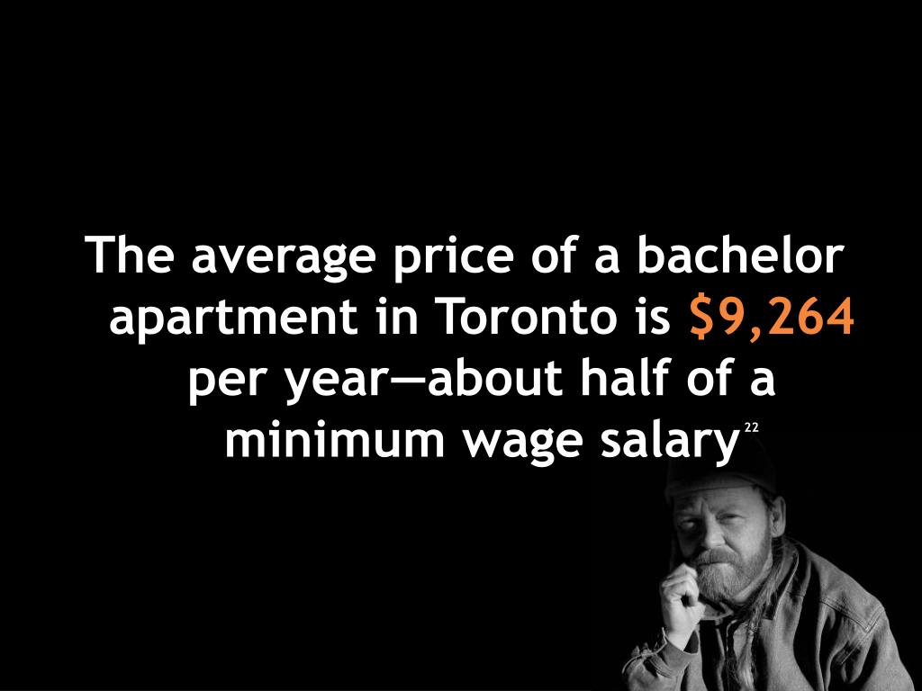 The average price of a bachelor apartment in Toronto is
