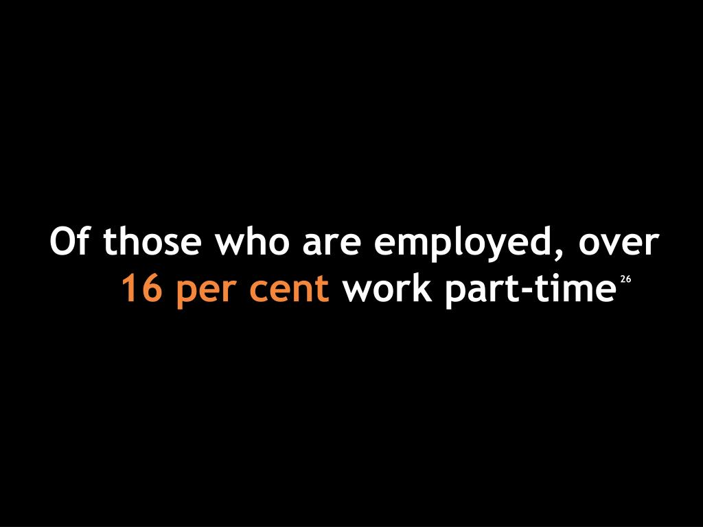 Of those who are employed, over