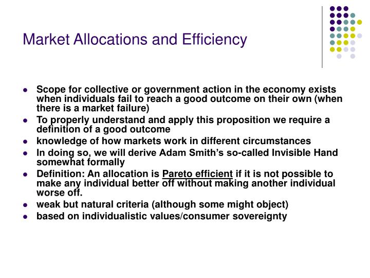 Market allocations and efficiency