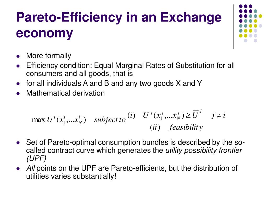 Pareto-Efficiency in an Exchange economy