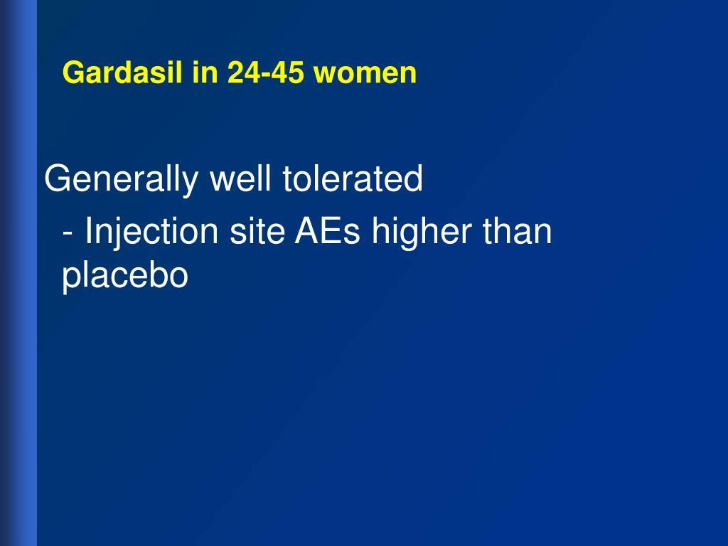 Gardasil in 24-45 women
