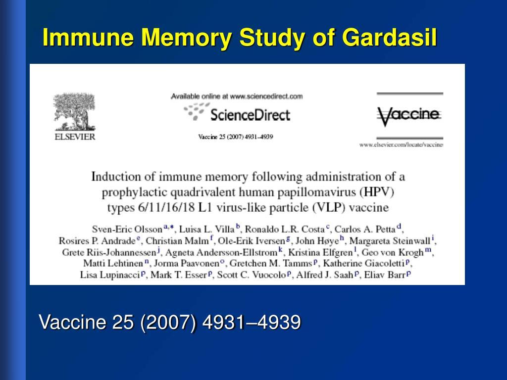 Immune Memory Study of Gardasil