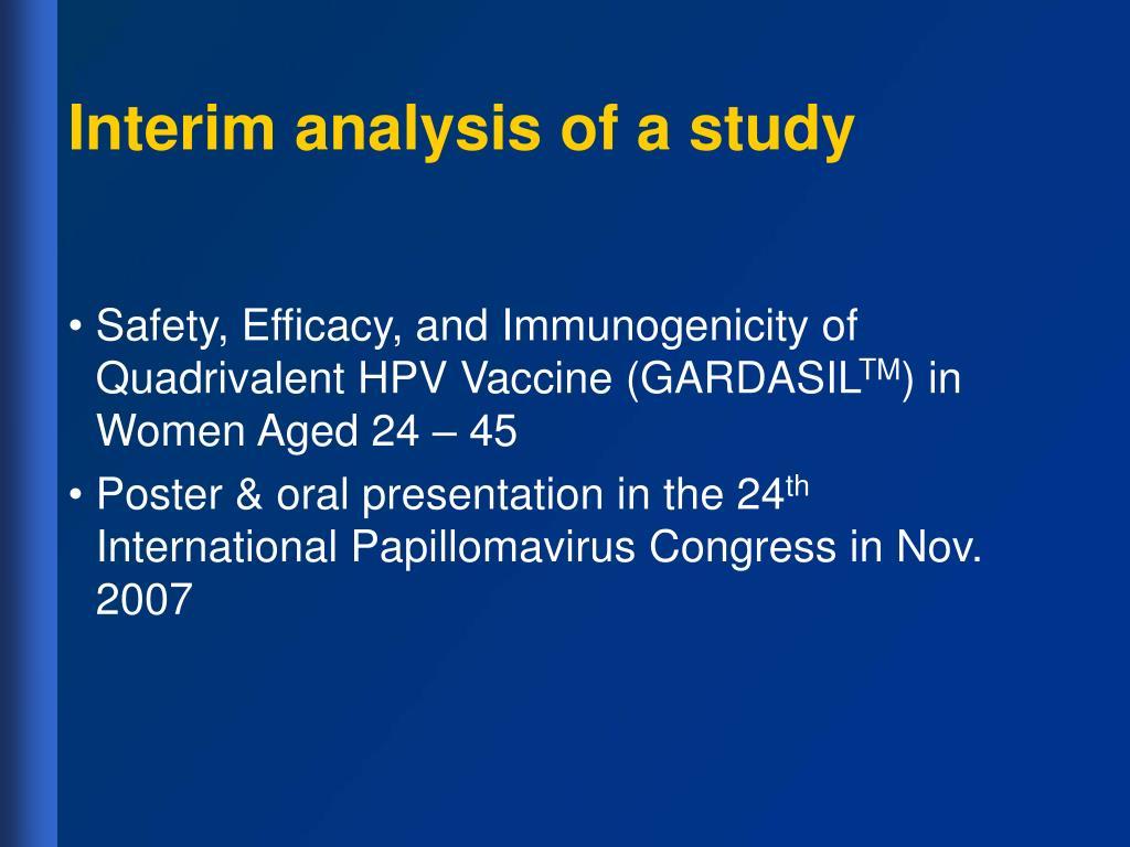 Interim analysis of a study