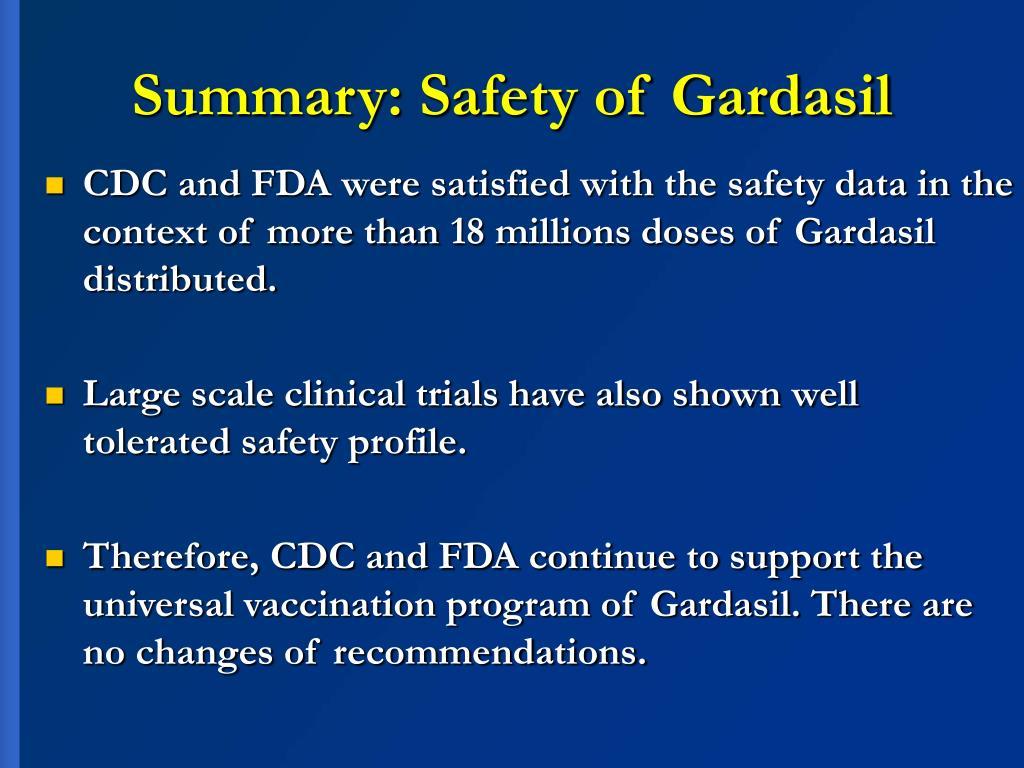 Summary: Safety of Gardasil