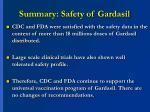 summary safety of gardasil