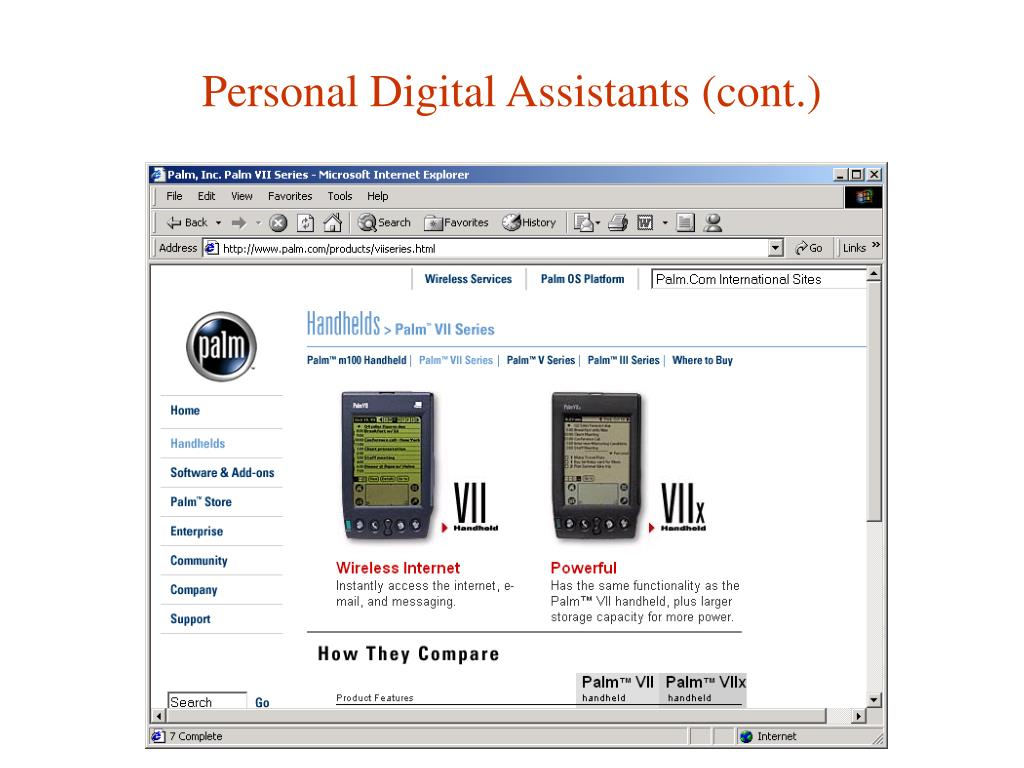 Personal Digital Assistants (cont.)