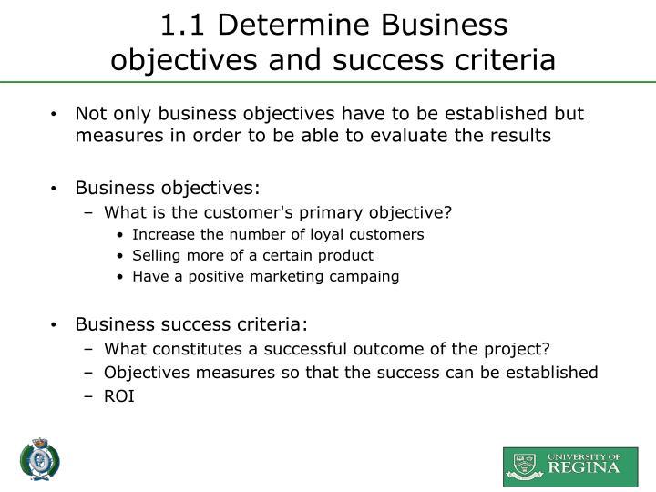 1.1 Determine Business
