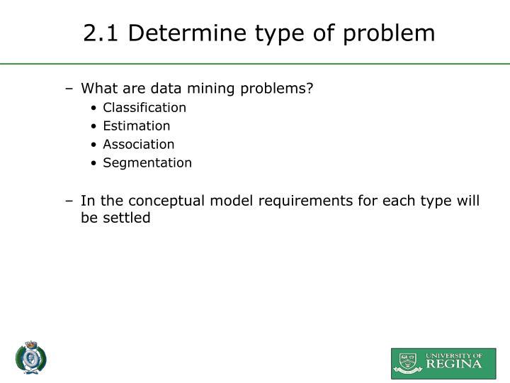 2.1 Determine type of problem