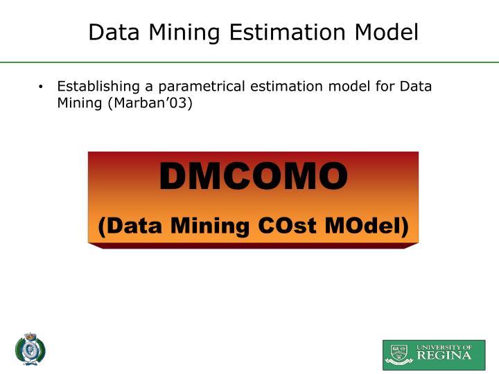Data Mining Estimation Model