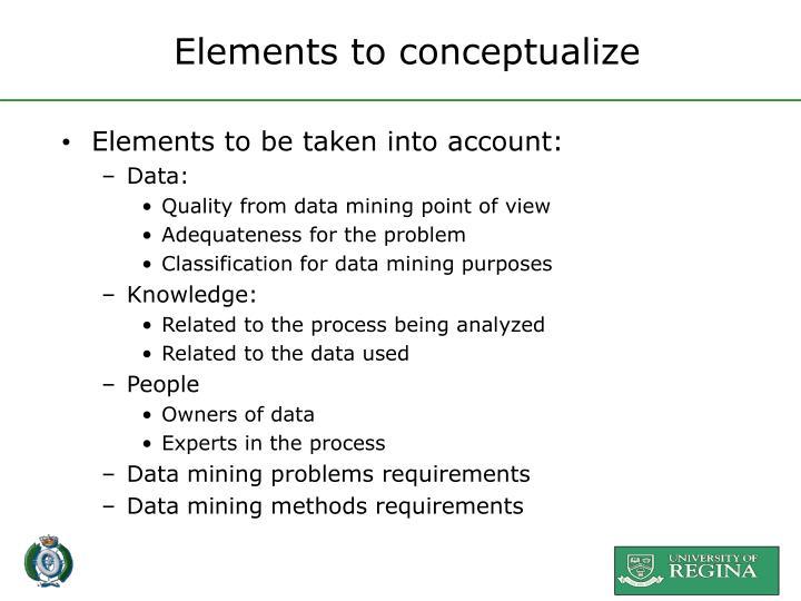 Elements to conceptualize