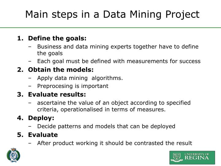 Main steps in a Data Mining Project