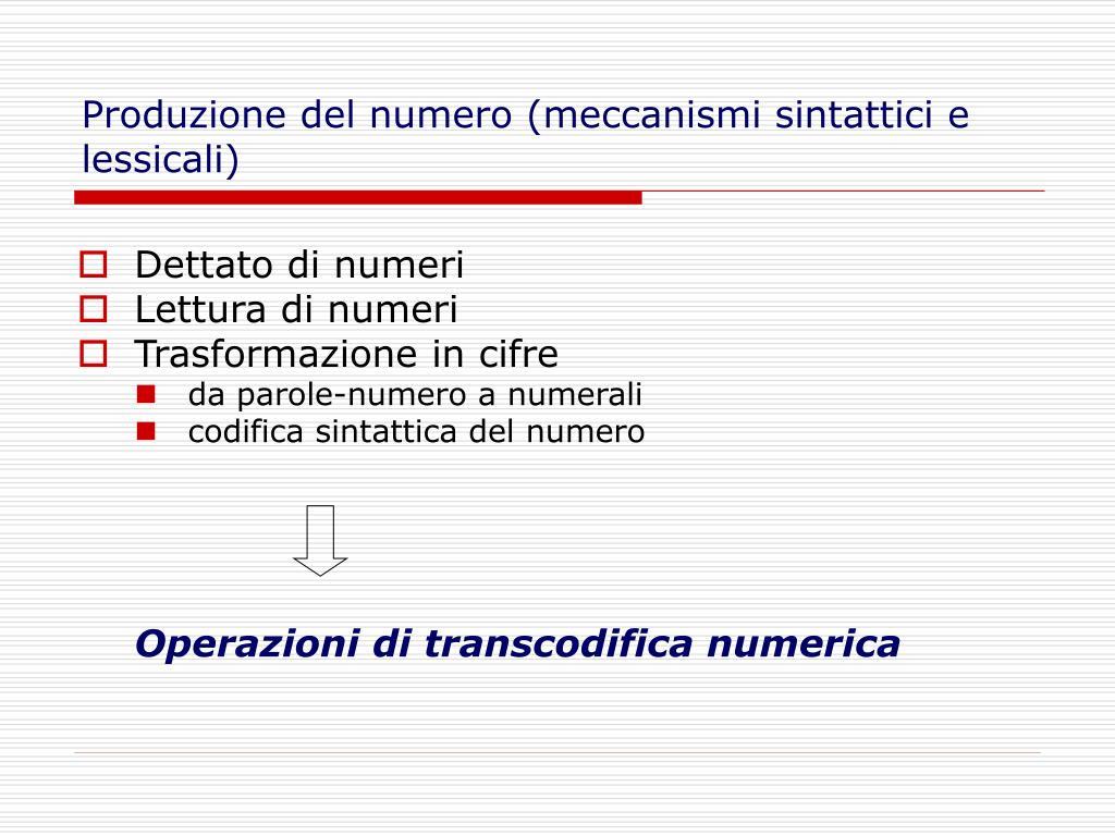 Produzione del numero (meccanismi sintattici e lessicali)