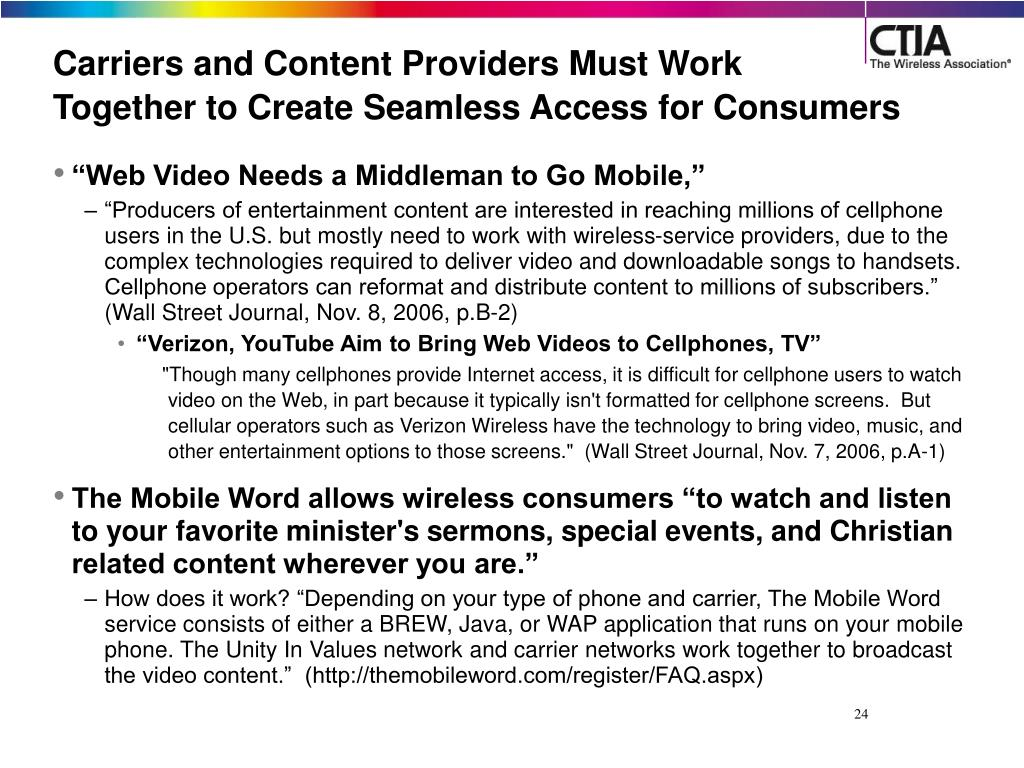 Carriers and Content Providers Must Work
