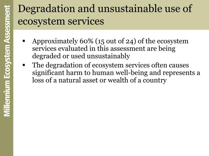Degradation and unsustainable use of ecosystem services