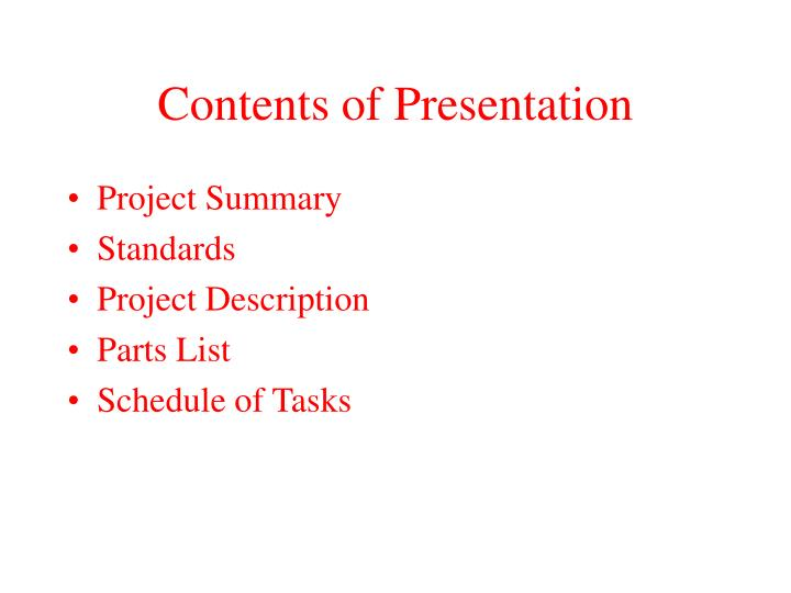 Contents of presentation