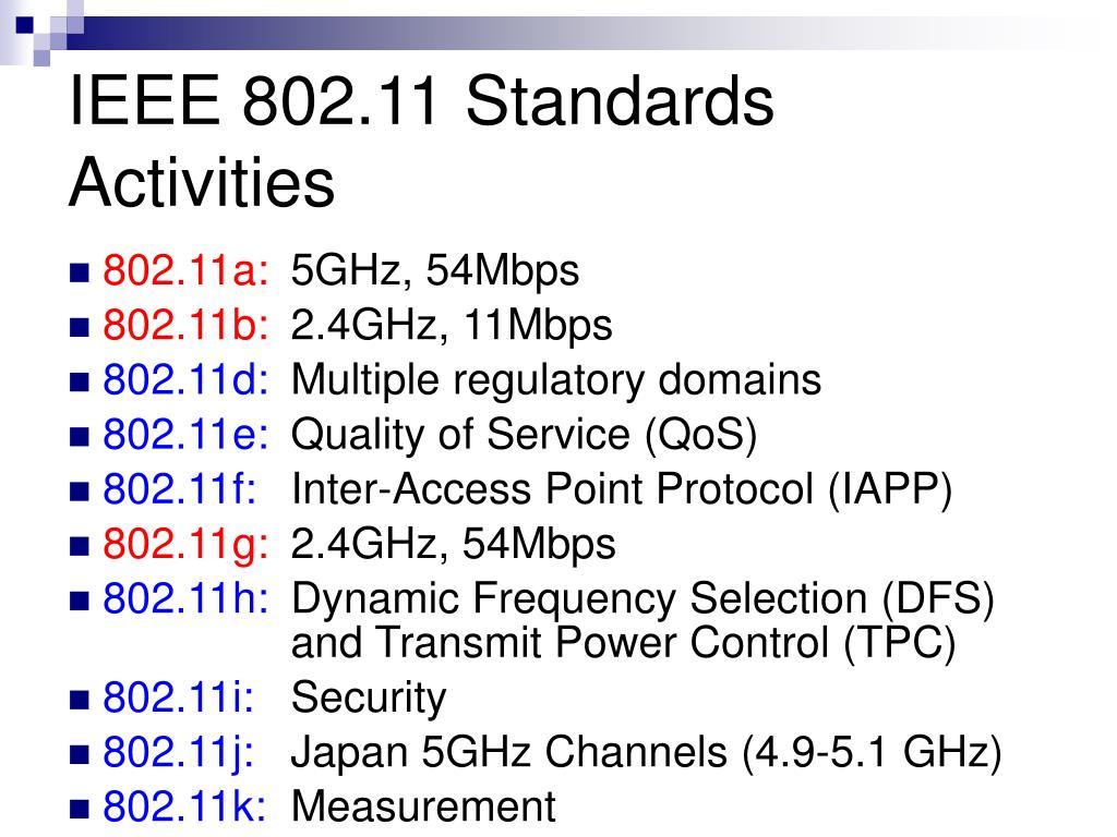 IEEE 802.11 Standards Activities