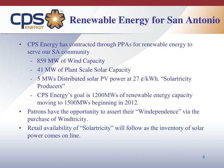 Renewable Energy for San Antonio
