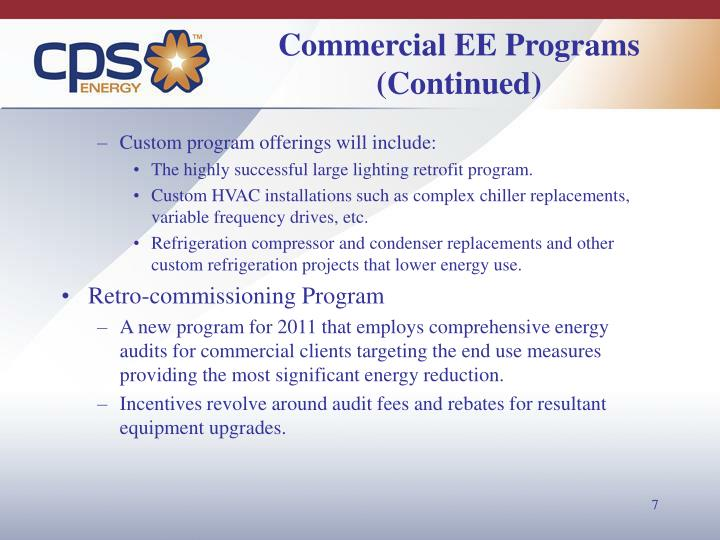 Commercial EE Programs