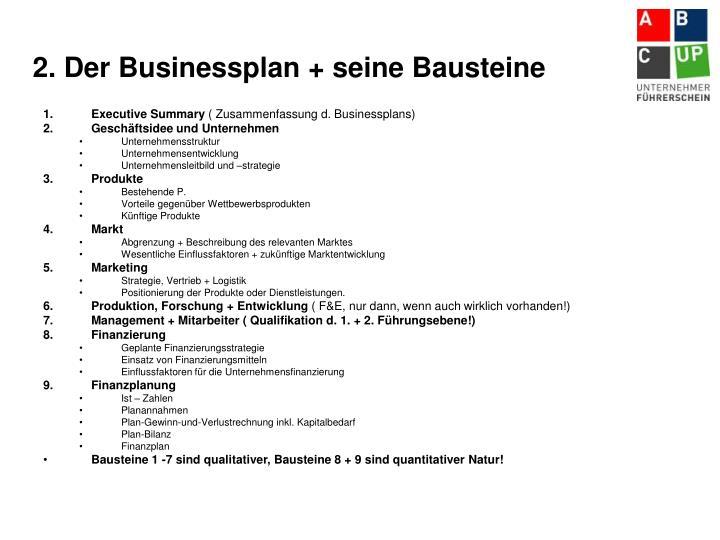 2. Der Businessplan + seine Bausteine