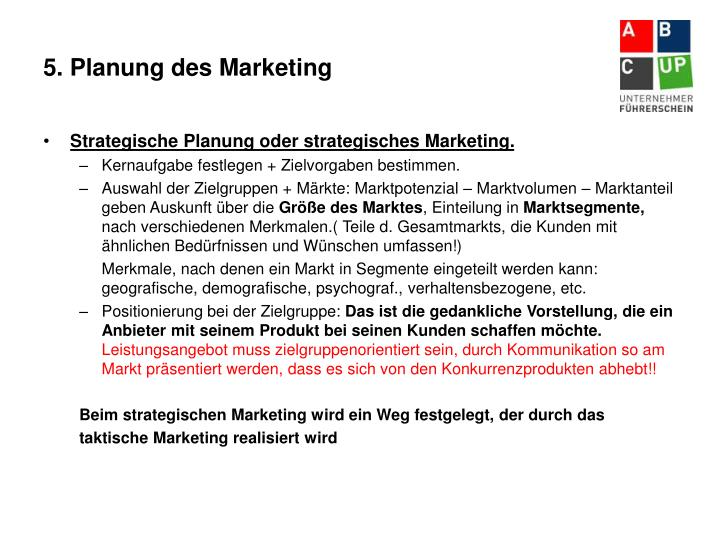 5. Planung des Marketing