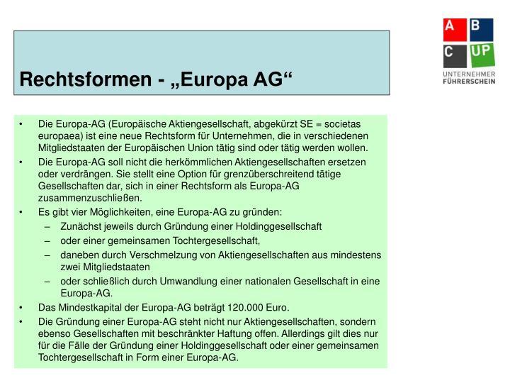 """Rechtsformen - """"Europa AG"""""""