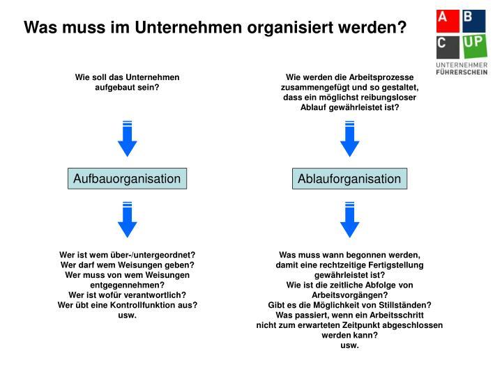 Was muss im Unternehmen organisiert werden?