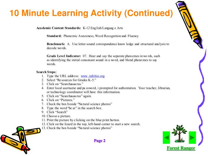 10 Minute Learning Activity (Continued)