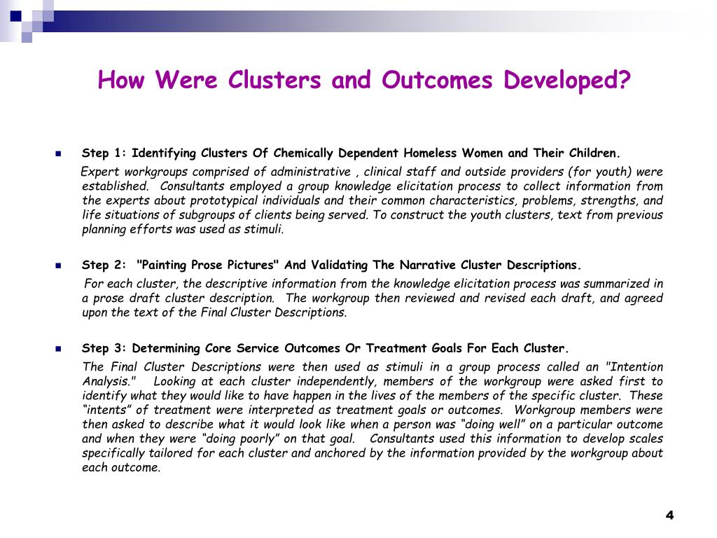 How Were Clusters and Outcomes Developed?