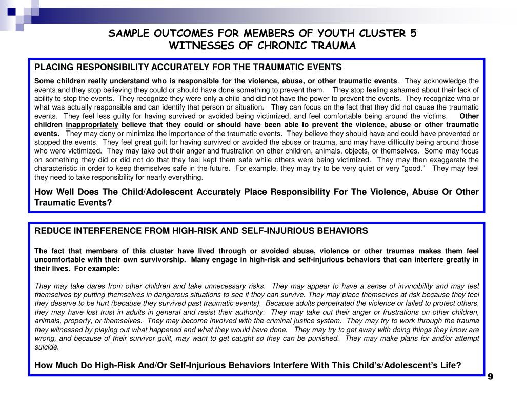 SAMPLE OUTCOMES FOR MEMBERS OF YOUTH CLUSTER 5