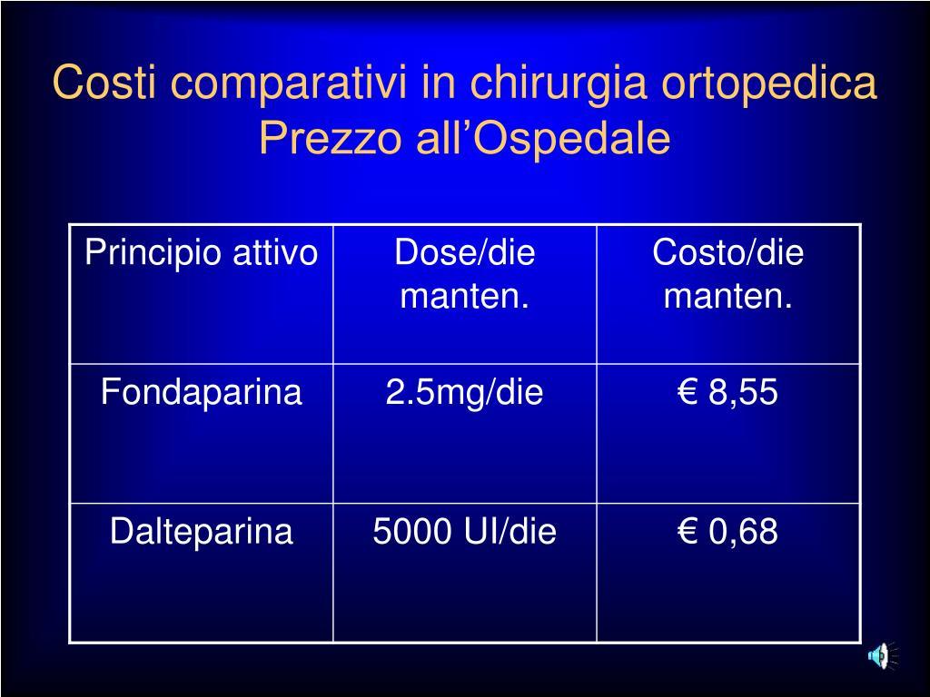Costi comparativi in chirurgia ortopedica