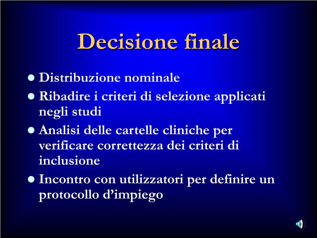 Decisione finale