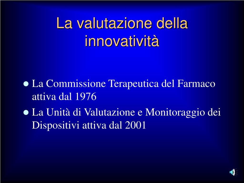 La valutazione della innovatività