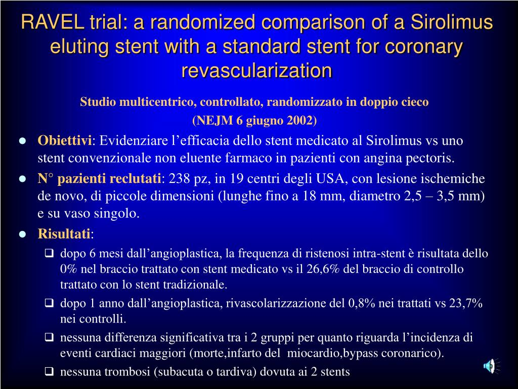 RAVEL trial: a randomized comparison of a Sirolimus eluting stent with a standard stent for coronary revascularization