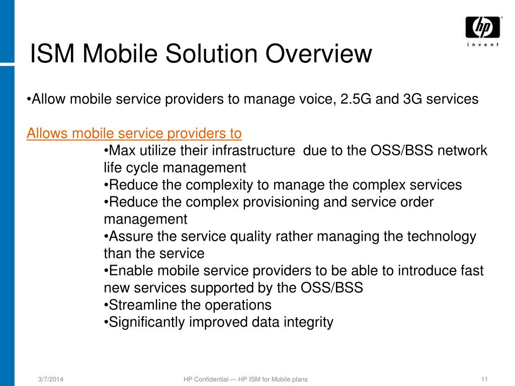ISM Mobile Solution Overview