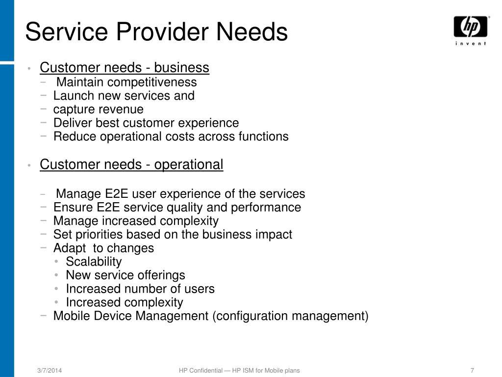 Service Provider Needs