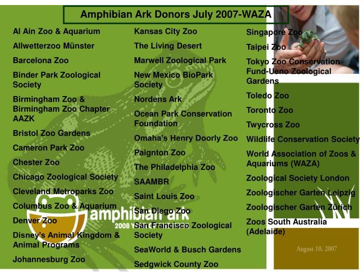 Amphibian Ark Donors July 2007-WAZA
