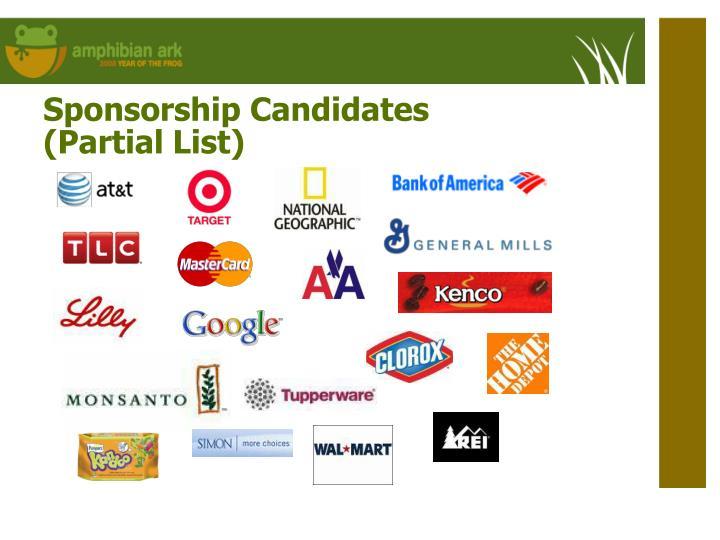 Sponsorship Candidates