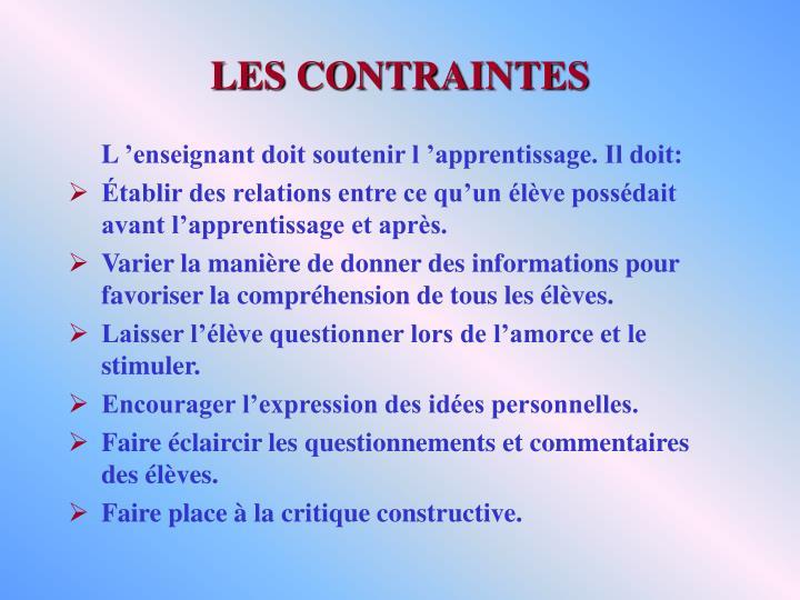 LES CONTRAINTES