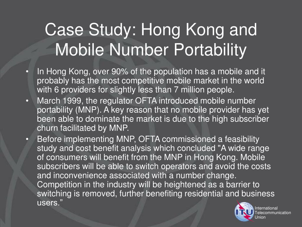 Case Study: Hong Kong and Mobile Number Portability