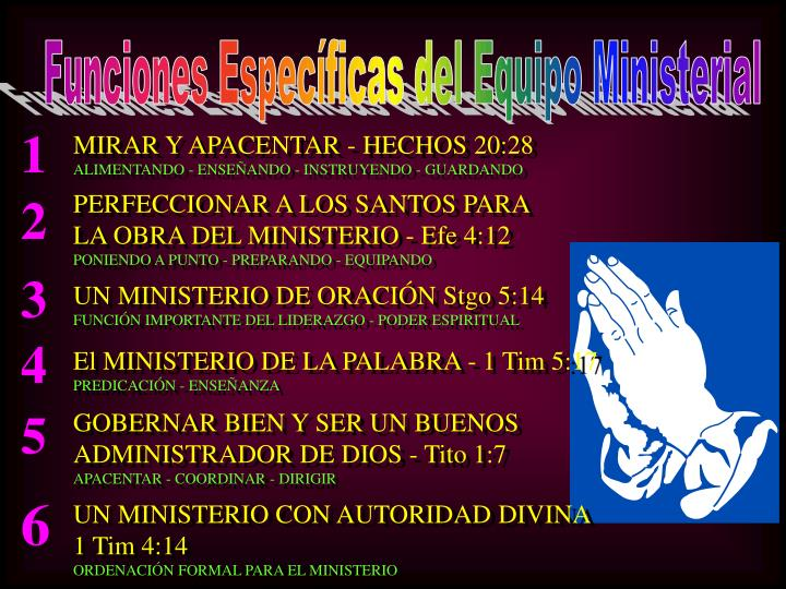 Funciones Específicas del Equipo Ministerial