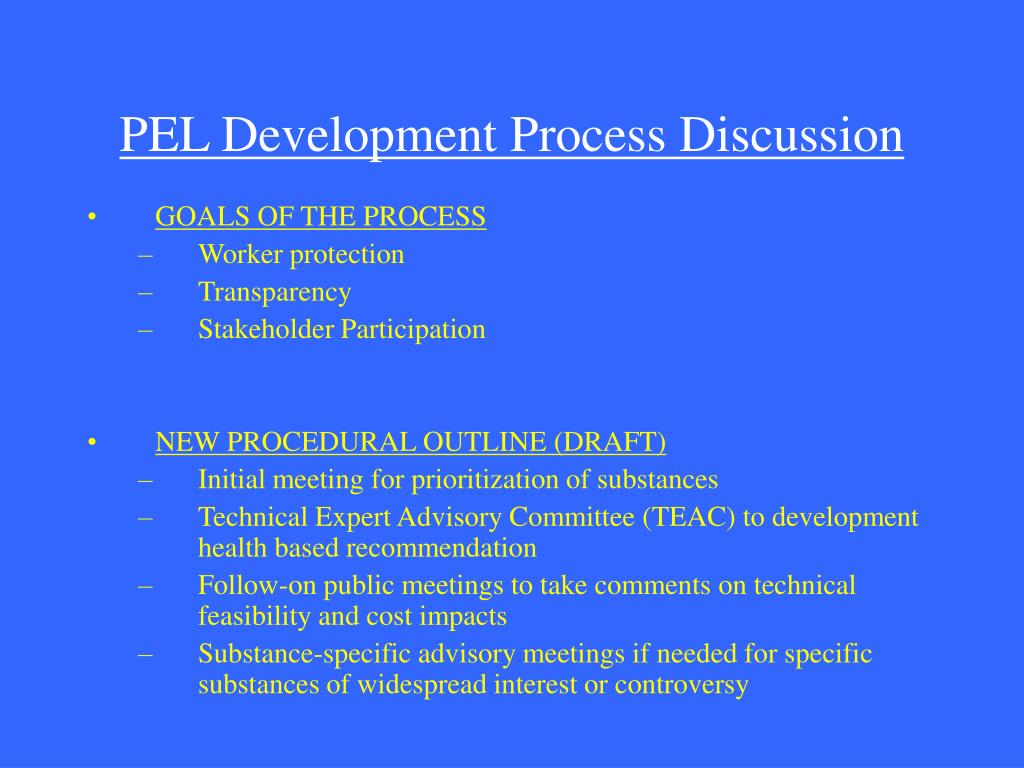 PEL Development Process Discussion