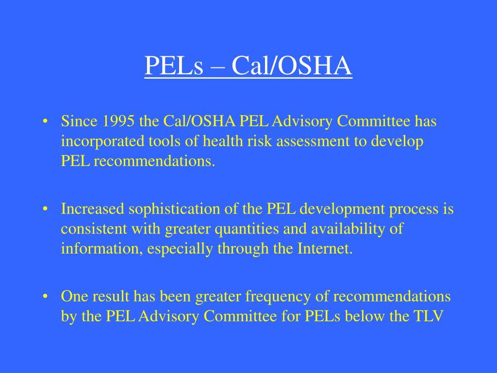 PELs – Cal/OSHA