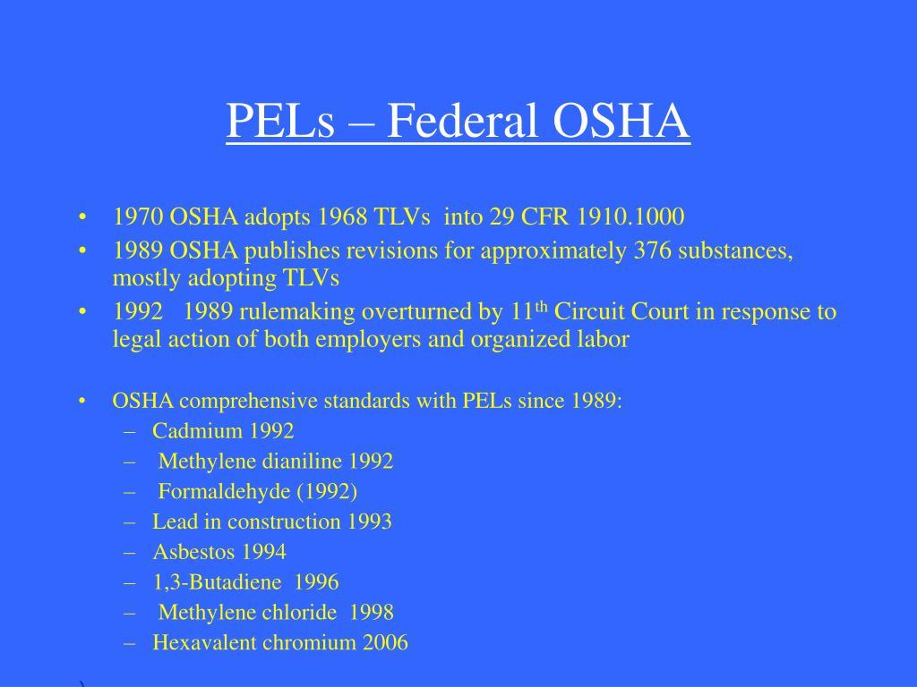 PELs – Federal OSHA