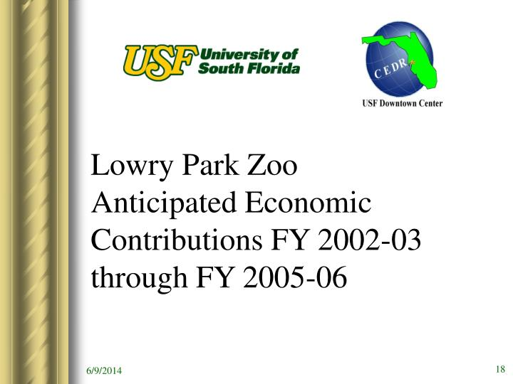 Lowry Park Zoo Anticipated Economic Contributions FY 2002-03 through FY 2005-06