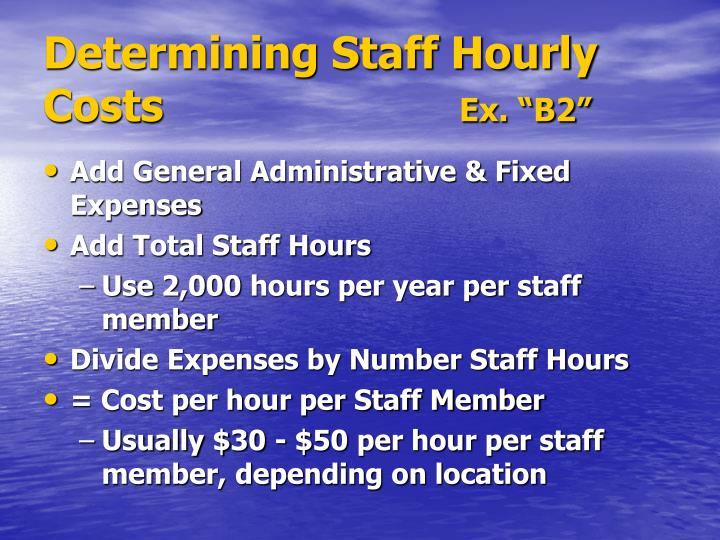 Determining Staff Hourly Costs