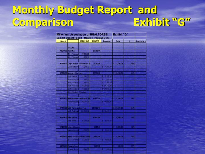 "Monthly Budget Report  and Comparison                    Exhibit ""G"""