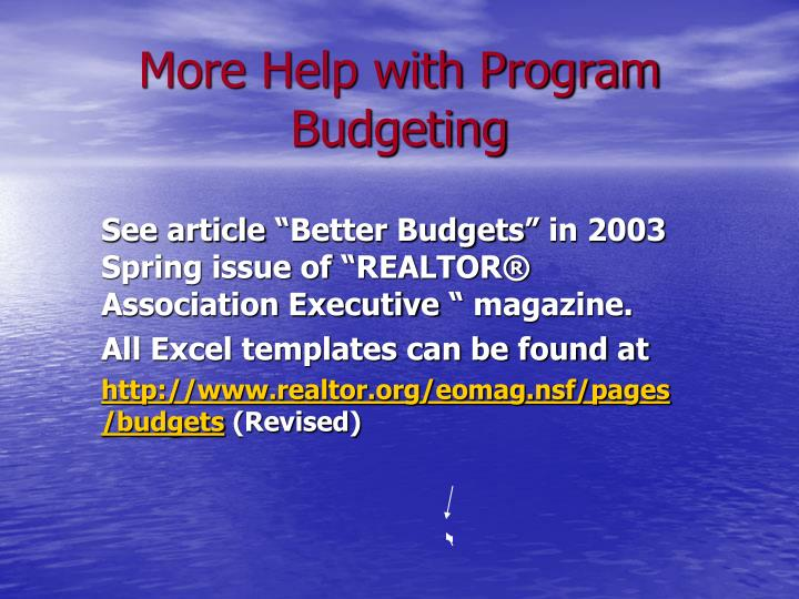 More Help with Program Budgeting