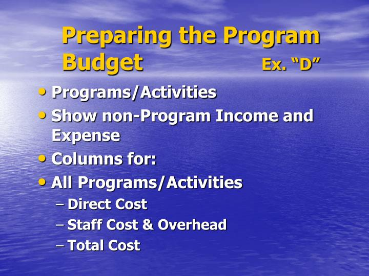 Preparing the Program                 Budget